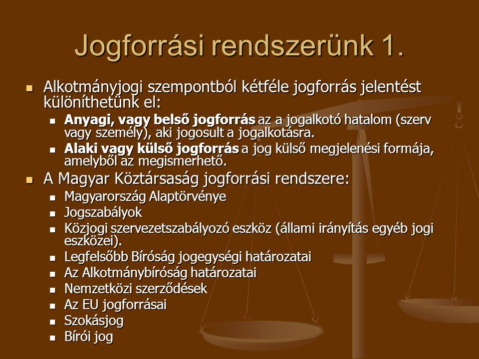 Jogforrási rendszerünk 1. Alkotmányjogi szempontból kétféle jogforrás jelentést különíthetünk el: Alkotmányjogi szempontból kétféle jogforrás jelentés