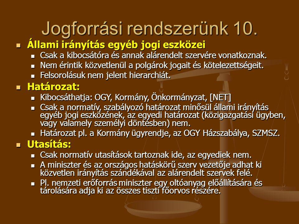 Jogforrási rendszerünk 10. Állami irányítás egyéb jogi eszközei Állami irányítás egyéb jogi eszközei Csak a kibocsátóra és annak alárendelt szervére v