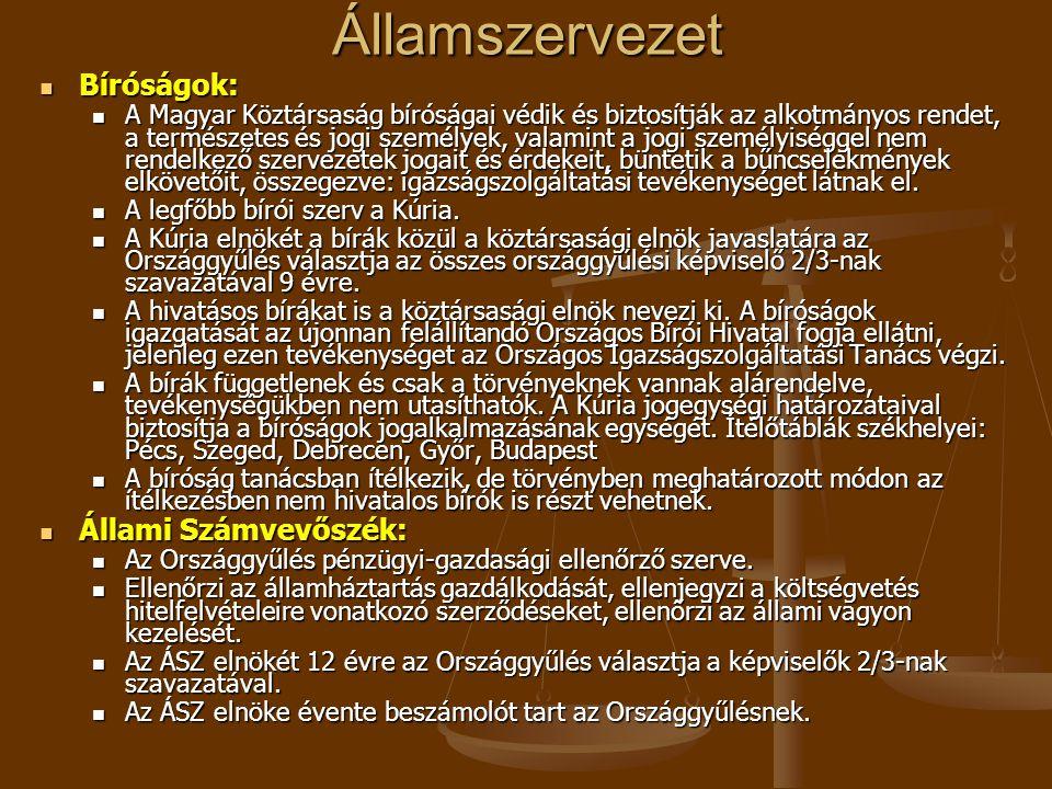 Államszervezet Bíróságok: Bíróságok: A Magyar Köztársaság bíróságai védik és biztosítják az alkotmányos rendet, a természetes és jogi személyek, valamint a jogi személyiséggel nem rendelkező szervezetek jogait és érdekeit, büntetik a bűncselekmények elkövetőit, összegezve: igazságszolgáltatási tevékenységet látnak el.