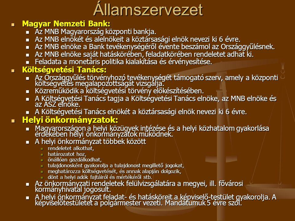 Államszervezet Magyar Nemzeti Bank: Magyar Nemzeti Bank: Az MNB Magyarország központi bankja. Az MNB Magyarország központi bankja. Az MNB elnökét és a