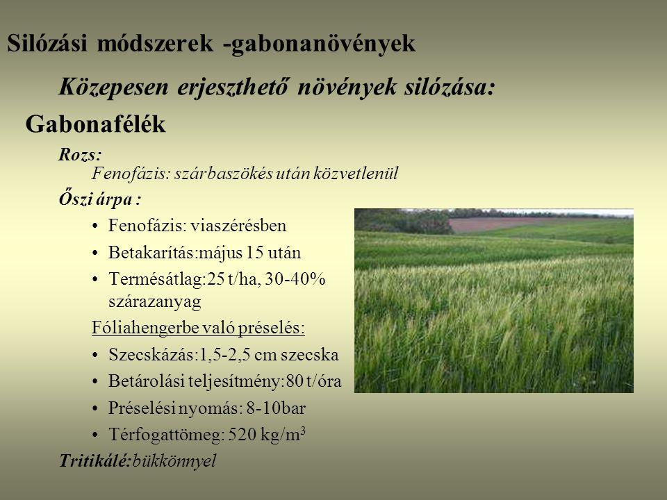 Silózási módszerek -gabonanövények Közepesen erjeszthető növények silózása: Gabonafélék Rozs: Fenofázis: szárbaszökés után közvetlenül Őszi árpa : Fen