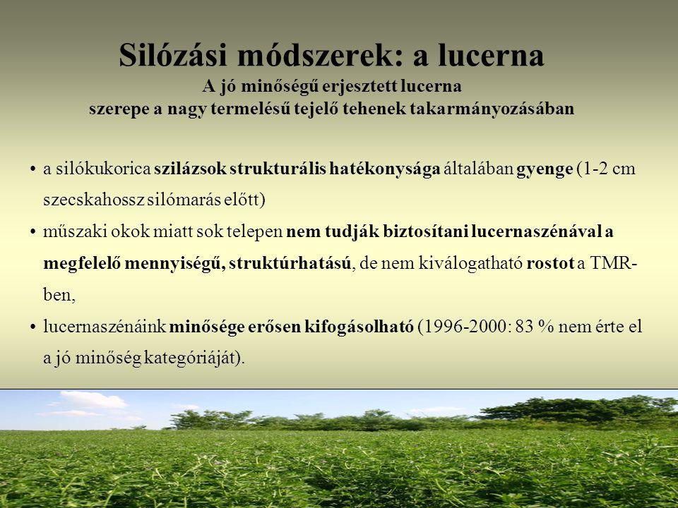 Silózási módszerek: a lucerna A jó minőségű erjesztett lucerna szerepe a nagy termelésű tejelő tehenek takarmányozásában a silókukorica szilázsok stru