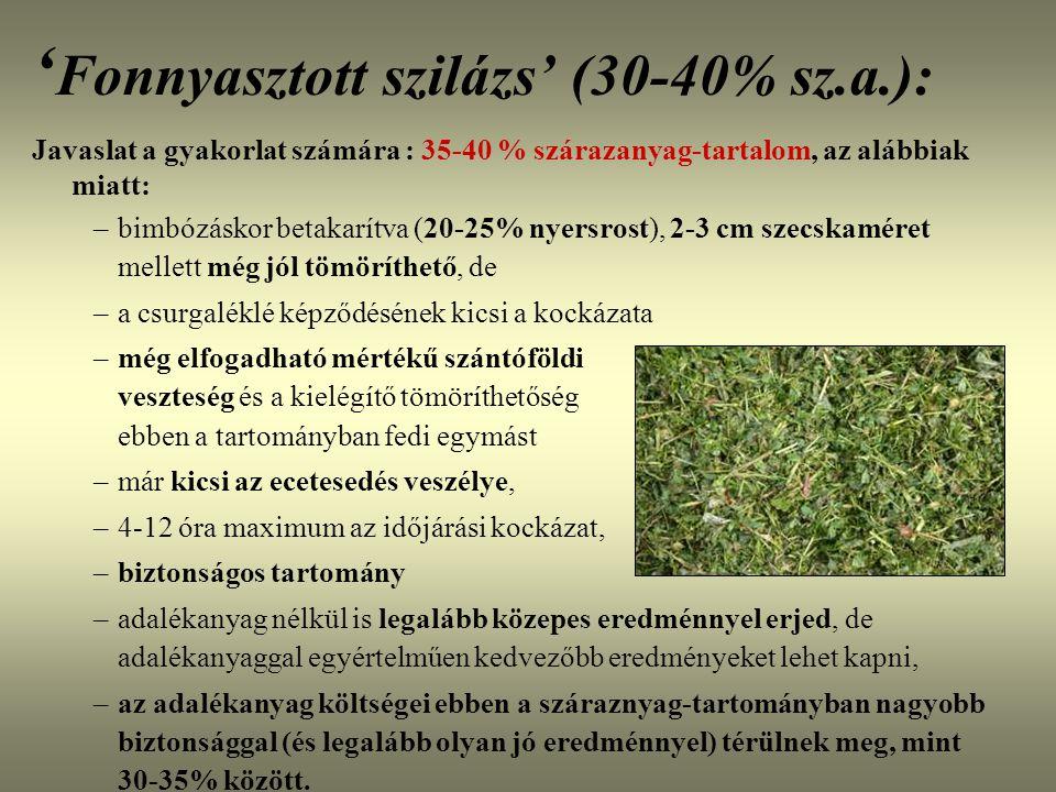 ' Fonnyasztott szilázs' (30-40% sz.a.): Javaslat a gyakorlat számára : 35-40 % szárazanyag-tartalom, az alábbiak miatt: –bimbózáskor betakarítva (20-2