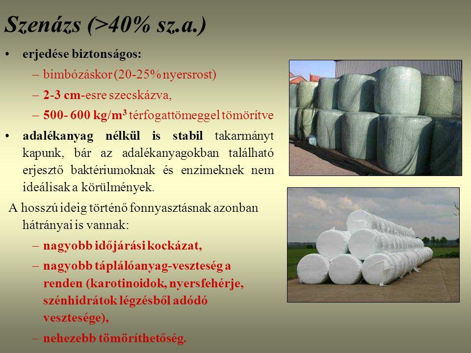Szenázs (>40% sz.a.) erjedése biztonságos: –bimbózáskor (20-25% nyersrost) –2-3 cm-esre szecskázva, –500- 600 kg/m 3 térfogattömeggel tömörítve adalék