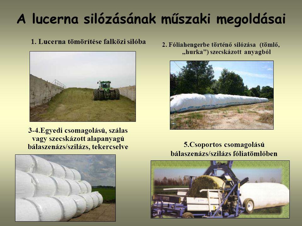 """A lucerna silózásának műszaki megoldásai 2. Fóliahengerbe történő silózása (tömlő, """"hurka"""") szecskázott anyagból 1. Lucerna tömörítése falközi silóba"""