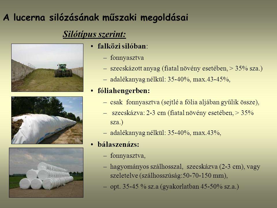 A lucerna silózásának műszaki megoldásai Silótípus szerint: falközi silóban: –fonnyasztva –szecskázott anyag (fiatal növény esetében, > 35% sza.) –ada