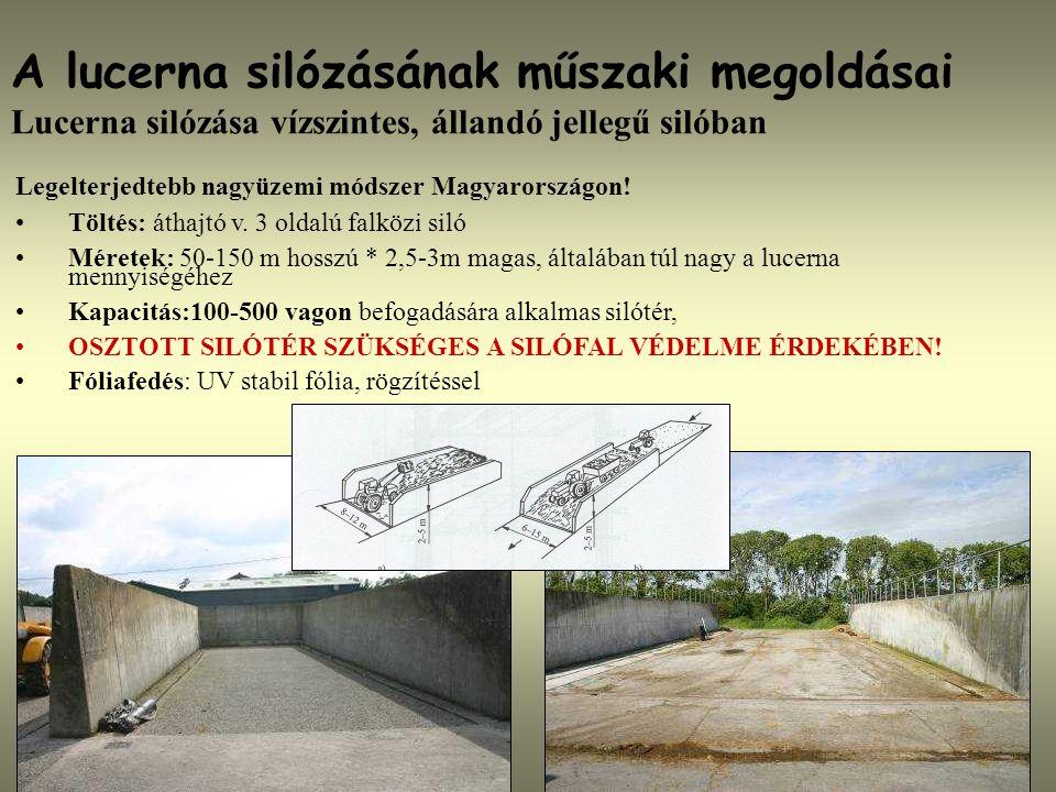 A lucerna silózásának műszaki megoldásai Lucerna silózása vízszintes, állandó jellegű silóban Legelterjedtebb nagyüzemi módszer Magyarországon! Töltés