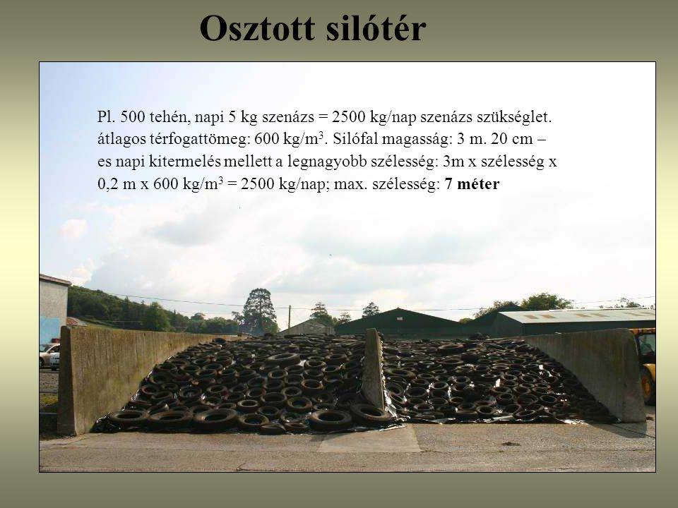 Osztott silótér Pl. 500 tehén, napi 5 kg szenázs = 2500 kg/nap szenázs szükséglet. átlagos térfogattömeg: 600 kg/m 3. Silófal magasság: 3 m. 20 cm – e