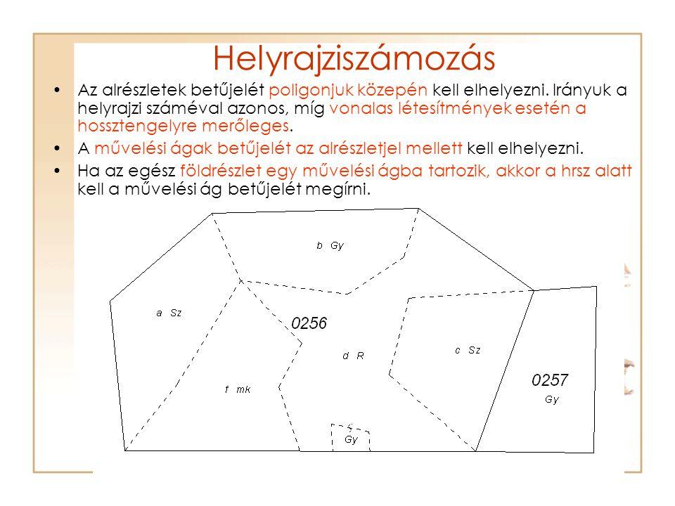 Helyrajziszámozás Az alrészletek betűjelét poligonjuk közepén kell elhelyezni. Irányuk a helyrajzi száméval azonos, míg vonalas létesítmények esetén a