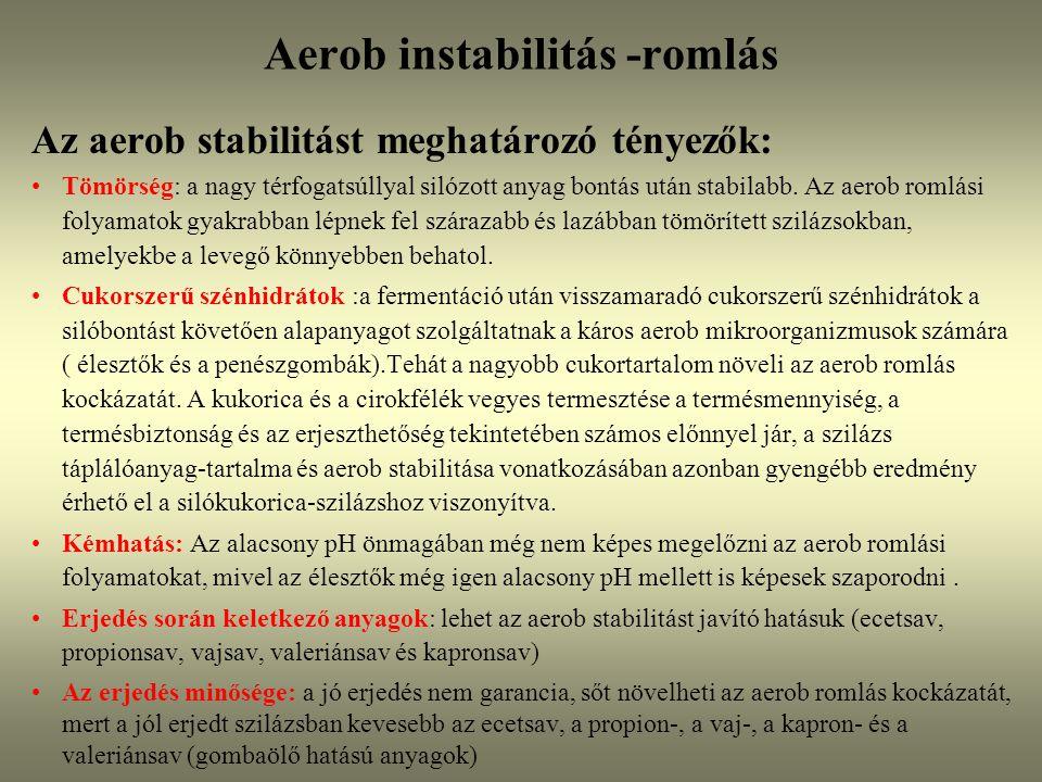 Az aerob stabilitást meghatározó tényezők: Tömörség: a nagy térfogatsúllyal silózott anyag bontás után stabilabb. Az aerob romlási folyamatok gyakrabb