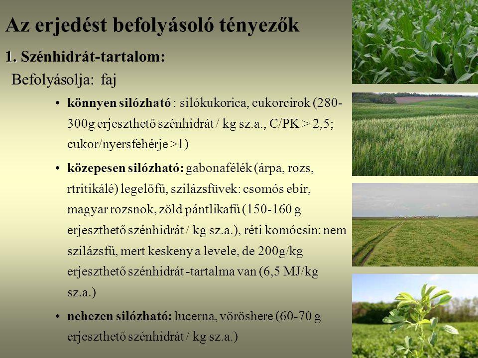 Az erjedést befolyásoló tényezők 1. 1. Szénhidrát-tartalom: Befolyásolja: faj könnyen silózható : silókukorica, cukorcirok (280- 300g erjeszthető szén
