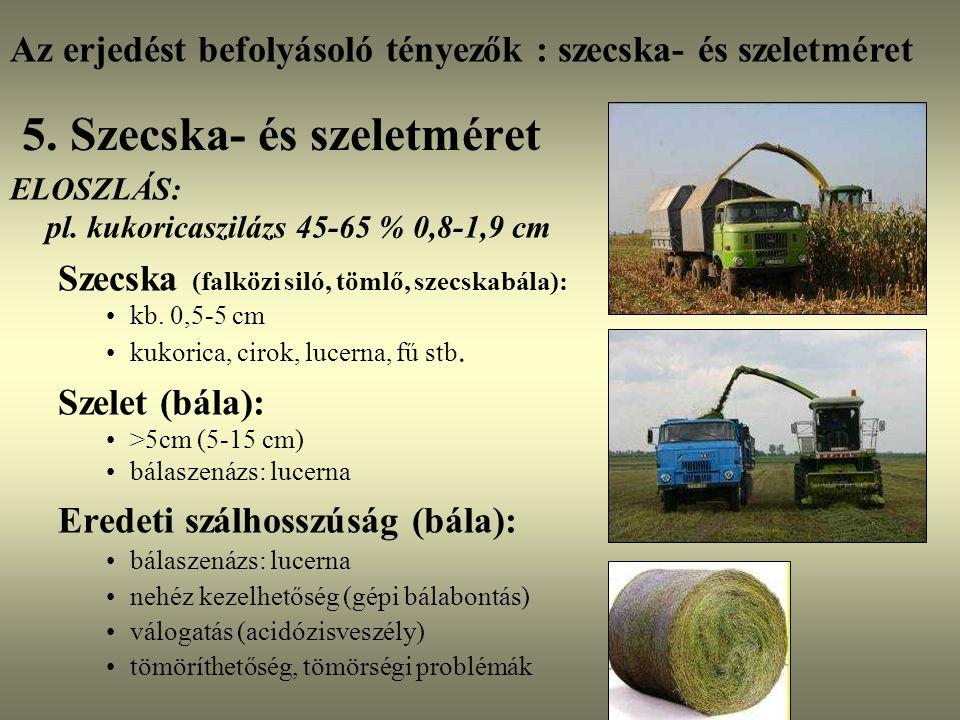 5. Szecska- és szeletméret ELOSZLÁS: pl. kukoricaszilázs 45-65 % 0,8-1,9 cm Szecska (falközi siló, tömlő, szecskabála): kb. 0,5-5 cm kukorica, cirok,