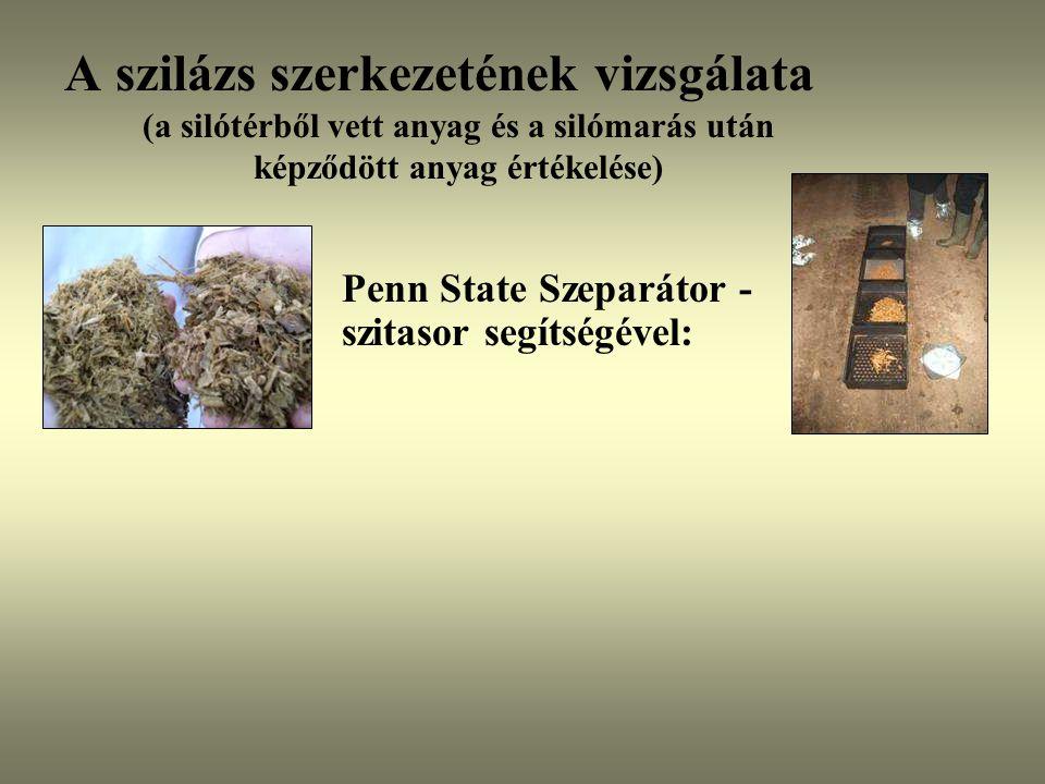A szilázs szerkezetének vizsgálata (a silótérből vett anyag és a silómarás után képződött anyag értékelése) Penn State Szeparátor - szitasor segítségé