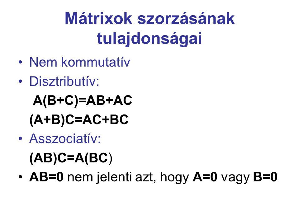 Mátrixok szorzásának tulajdonságai Nem kommutatív Disztributív: A(B+C)=AB+AC (A+B)C=AC+BC Asszociatív: (AB)C=A(BC) AB=0 nem jelenti azt, hogy A=0 vagy