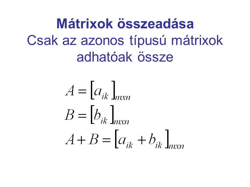 Az összeadás tulajdonságai Kommutatív: A+B=B+A Asszociatív: A+(B+C)=(A+B)+C=(A+C)+B Létezik nullelem, a nullmátrix, amelyre teljesül, hogy: A+0=A Minden A mátrixhoz található olyan (–A) szimbólummal jelölt mátrix, amelyre: A+(–A )=0
