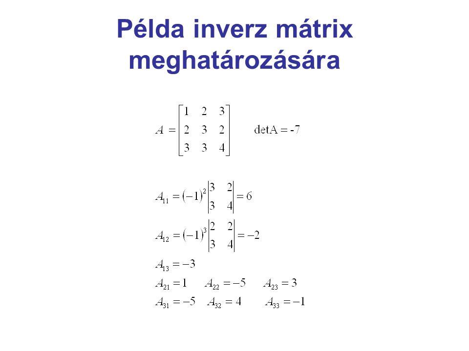 Példa inverz mátrix meghatározására