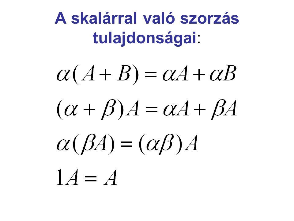 Mátrix inverzének a definíciója: Adott A (n x n)-es mátrix.