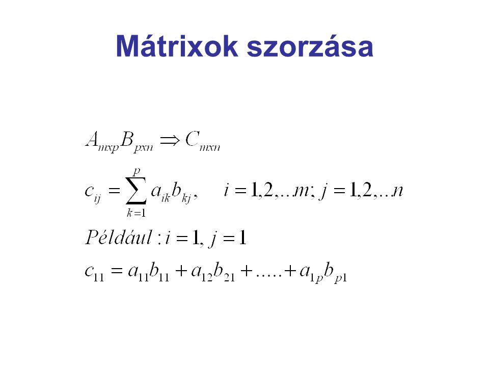 Inverz mátrix Egy mátrix szinguláris, ha nincs inverze. Egy mátrix reguláris, ha van inverze.