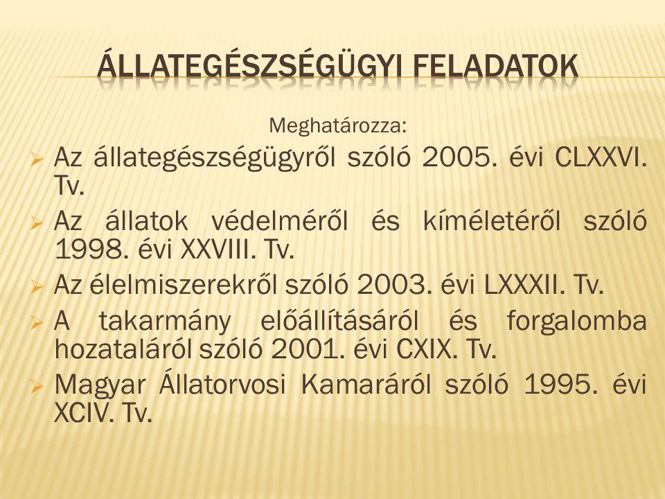 Meghatározza:  Az állategészségügyről szóló 2005. évi CLXXVI. Tv.  Az állatok védelméről és kíméletéről szóló 1998. évi XXVIII. Tv.  Az élelmiszere