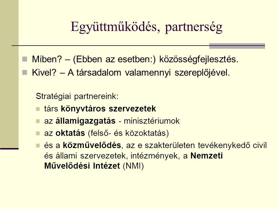 Együttműködés, partnerség Miben. – (Ebben az esetben:) közösségfejlesztés.