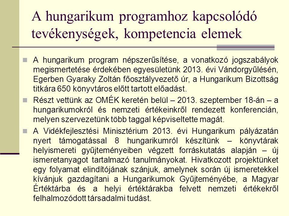 A hungarikum programhoz kapcsolódó tevékenységek, kompetencia elemek A hungarikum program népszerűsítése, a vonatkozó jogszabályok megismertetése érdekében egyesületünk 2013.