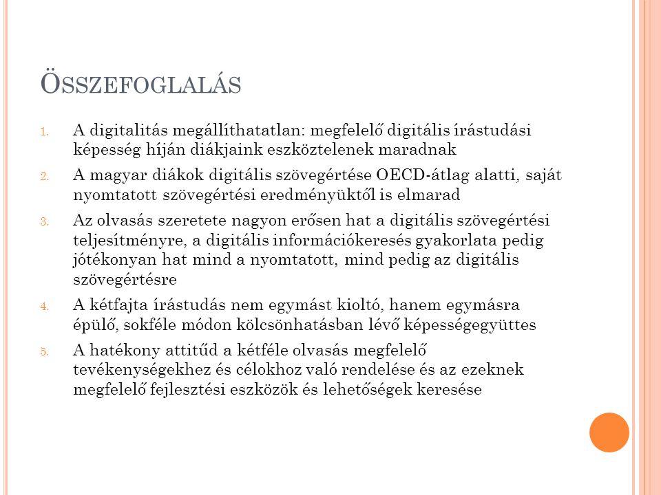 Ö SSZEFOGLALÁS 1. A digitalitás megállíthatatlan: megfelelő digitális írástudási képesség híján diákjaink eszköztelenek maradnak 2. A magyar diákok di