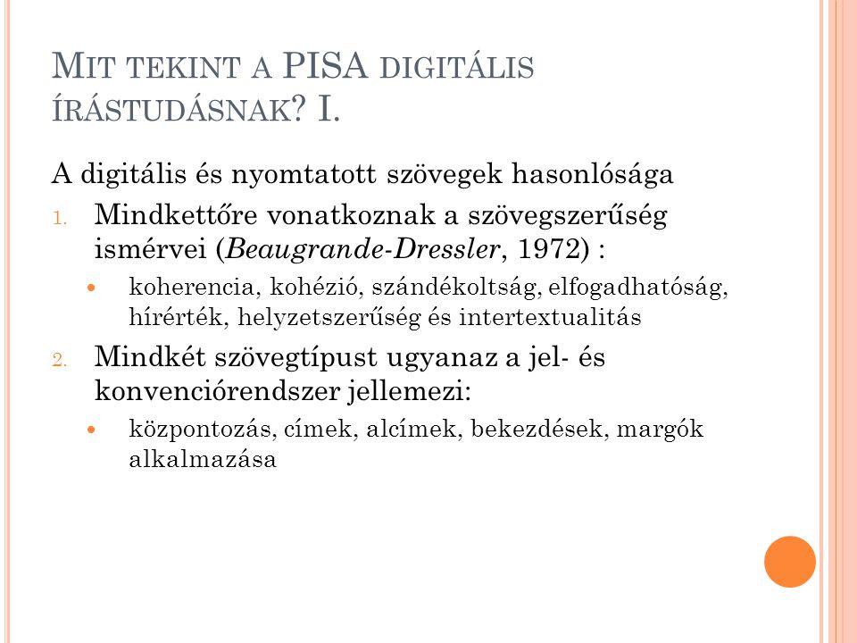 M IT TEKINT A PISA DIGITÁLIS ÍRÁSTUDÁSNAK ? I. A digitális és nyomtatott szövegek hasonlósága 1. Mindkettőre vonatkoznak a szövegszerűség ismérvei ( B