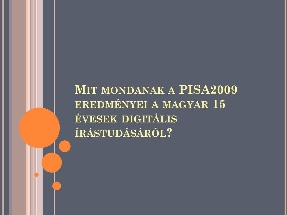 M IT MONDANAK A PISA2009 EREDMÉNYEI A MAGYAR 15 ÉVESEK DIGITÁLIS ÍRÁSTUDÁSÁRÓL