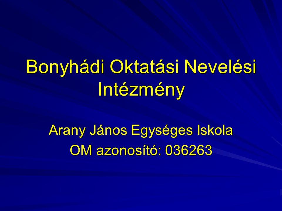 Bonyhádi Oktatási Nevelési Intézmény Arany János Egységes Iskola OM azonosító: 036263