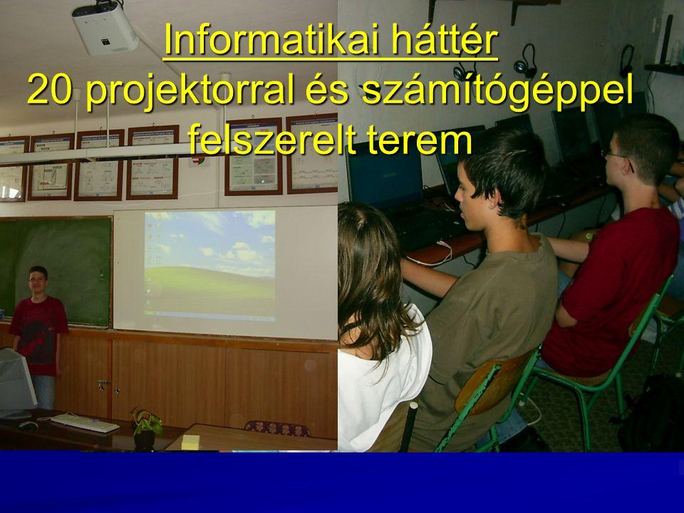 Informatikai háttér 20 projektorral és számítógéppel felszerelt terem