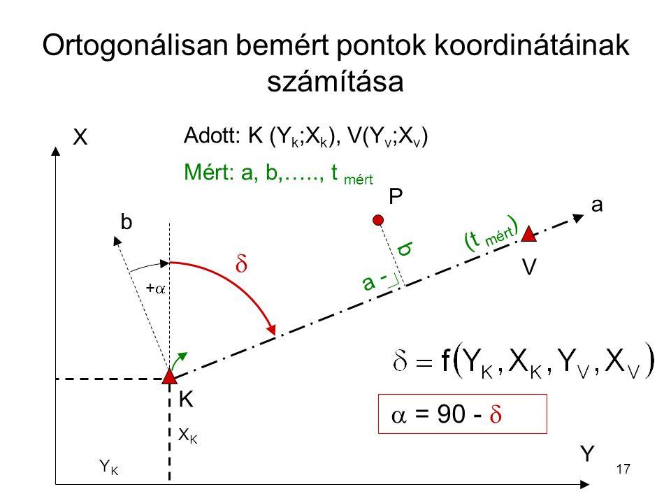 17 Ortogonálisan bemért pontok koordinátáinak számítása X Y b a ++ P K V  (t mért ) a - b Adott: K (Y k ;X k ), V(Y v ;X v )  = 90 -  Mért: a, b