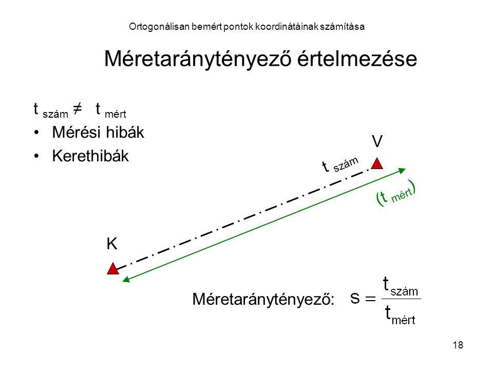18 Ortogonálisan bemért pontok koordinátáinak számítása K V (t mért ) t szám t szám ≠ t mért Mérési hibák Kerethibák Méretaránytényező: Méretaránytény