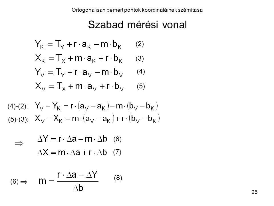 26 Ortogonálisan bemért pontok koordinátáinak számítása Szabad mérési vonal (8)-at (7)-be helyettesítve: (9)