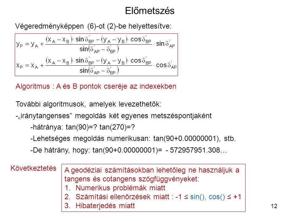 12 Előmetszés Végeredményképpen (6)-ot (2)-be helyettesítve: Algoritmus : A és B pontok cseréje az indexekben További algoritmusok, amelyek levezethet