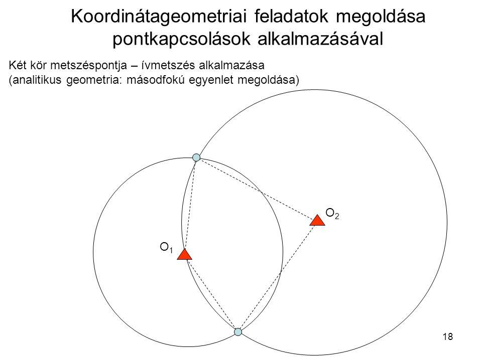 18 Koordinátageometriai feladatok megoldása pontkapcsolások alkalmazásával Két kör metszéspontja – ívmetszés alkalmazása (analitikus geometria: másodf