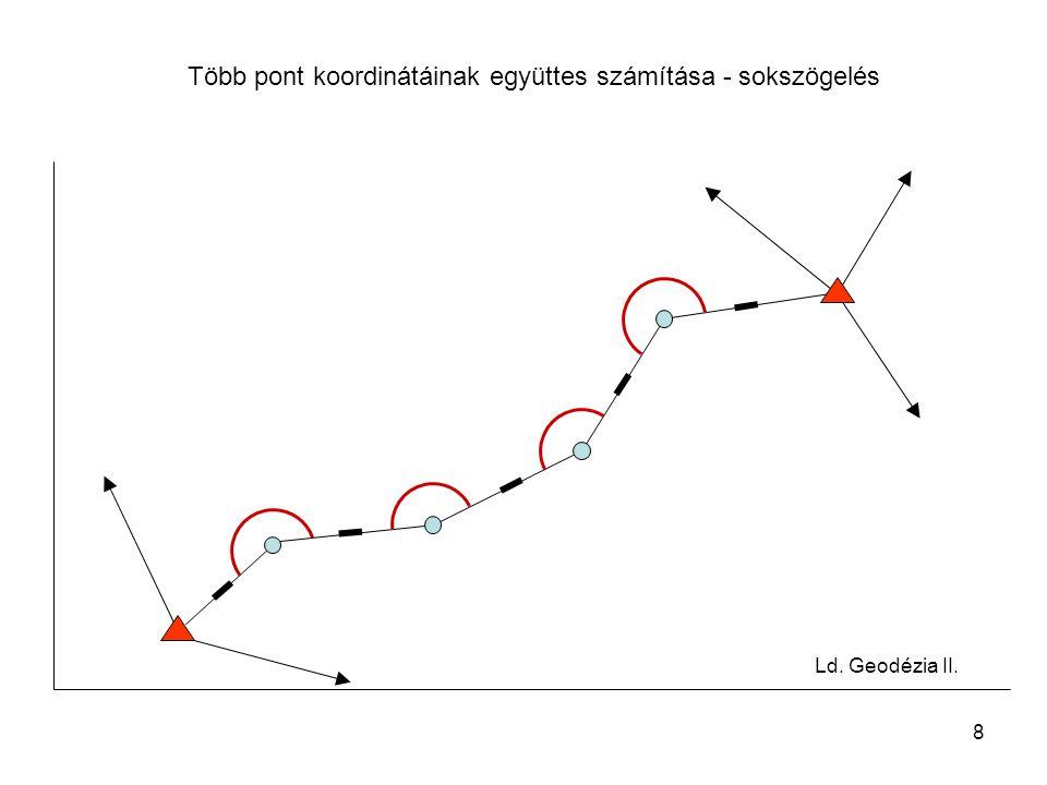 9 Pontkapcsolások osztályozása kétdimenziós helymeghatározás során Felhasznált mérések típusa szerint –Csak iránymérésen alapuló helymeghatározás (előmetszés, hátrametszés, Hansen-féle feladat) –Csak távmérésen alapuló helymeghatározás (ívmetszés) –Irány- és távmérésen alapuló helymeghatározás (poláris pontszámítás, ív- oldalmetszés, sokszögelés)
