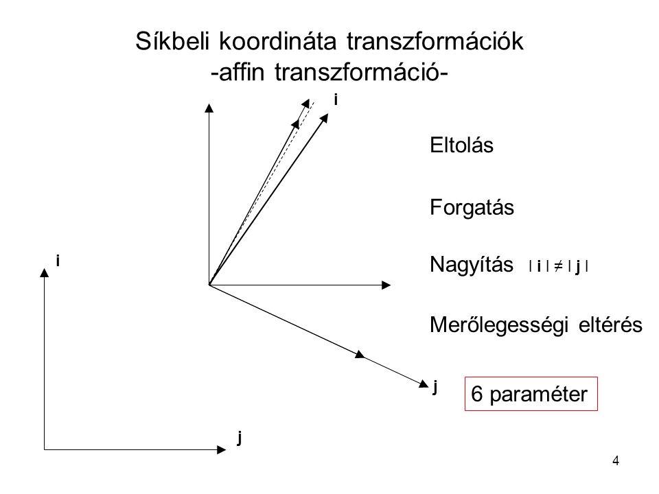 4 Síkbeli koordináta transzformációk -affin transzformáció- Eltolás Forgatás Nagyítás l i l ≠ l j l j i i j Merőlegességi eltérés 6 paraméter