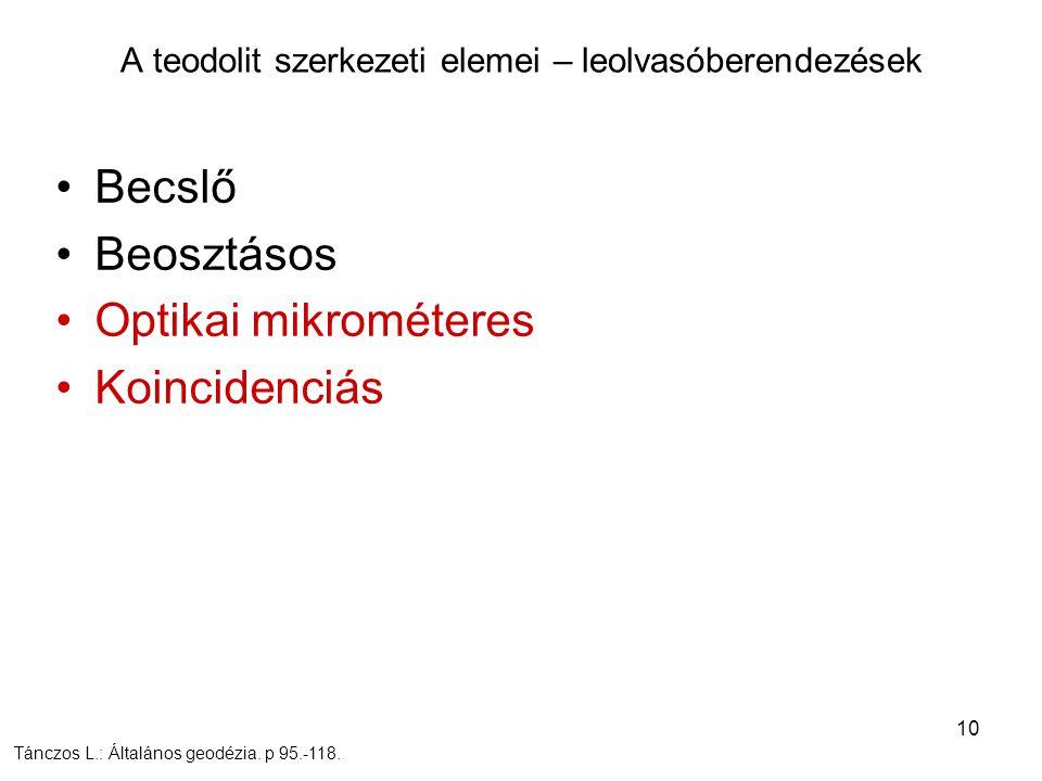 10 Becslő Beosztásos Optikai mikrométeres Koincidenciás A teodolit szerkezeti elemei – leolvasóberendezések Tánczos L.: Általános geodézia. p 95.-118.