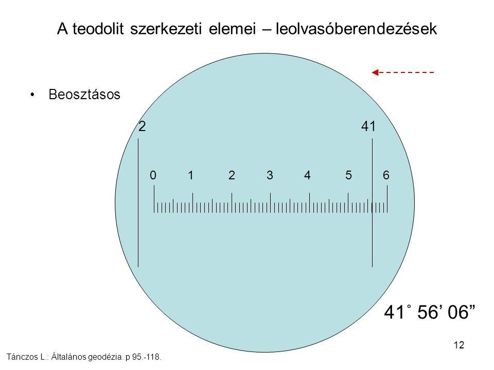"""12 Beosztásos A teodolit szerkezeti elemei – leolvasóberendezések 2 41 0 1 2 3 4 5 6 41˚ 56' 06"""" Tánczos L.: Általános geodézia. p 95.-118."""