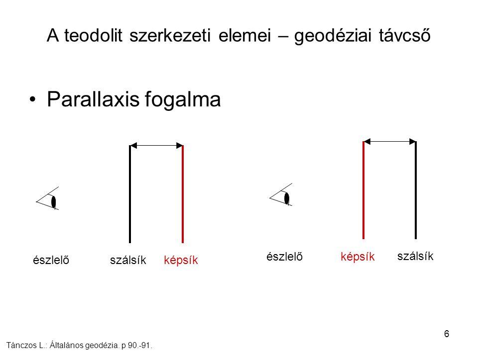 6 A teodolit szerkezeti elemei – geodéziai távcső Parallaxis fogalma észlelő szálsík észlelő Tánczos L.: Általános geodézia. p 90.-91. képsík szálsík