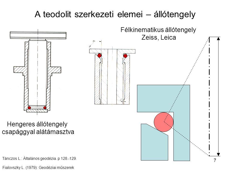 7 A teodolit szerkezeti elemei – állótengely Hengeres állótengely csapággyal alátámasztva Félkinematikus állótengely Zeiss, Leica Tánczos L.: Általáno