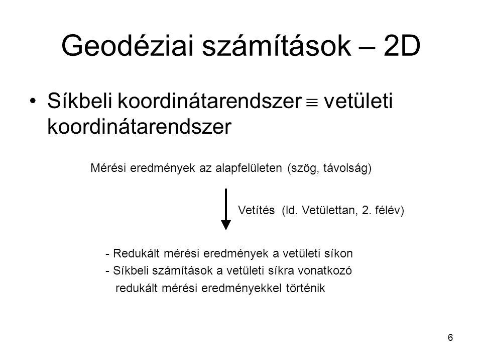 6 Geodéziai számítások – 2D Síkbeli koordinátarendszer  vetületi koordinátarendszer Mérési eredmények az alapfelületen (szög, távolság) Vetítés (ld.
