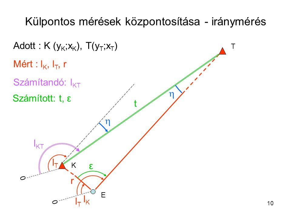 10 Külpontos mérések központosítása - iránymérés K E T Adott : K (y K ;x K ), T(y T ;x T ) Mért : l K, l T, r Számított: t, ε t ε lKlK lTlT r Számítandó: l KT 0 0 lTlT   l KT