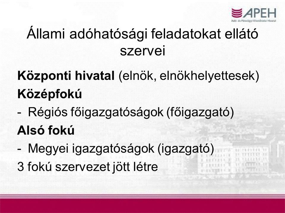Állami adóhatósági feladatokat ellátó szervei Központi hivatal (elnök, elnökhelyettesek) Középfokú -Régiós főigazgatóságok (főigazgató) Alsó fokú -Meg