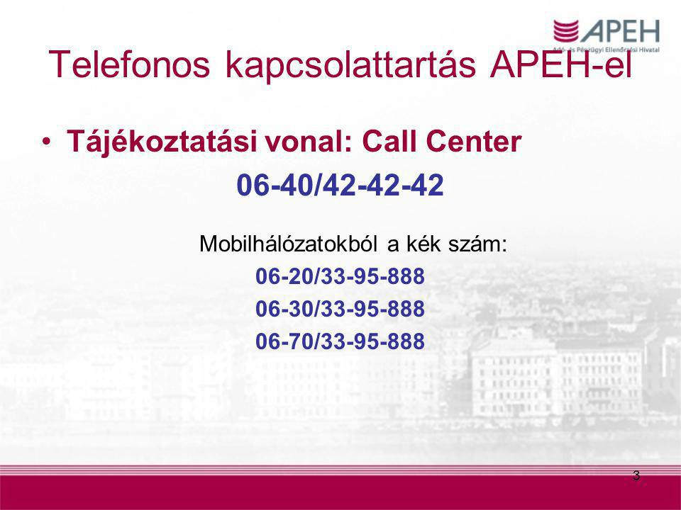 3 Telefonos kapcsolattartás APEH-el Tájékoztatási vonal: Call Center 06-40/42-42-42 Mobilhálózatokból a kék szám: 06-20/33-95-888 06-30/33-95-888 06-7