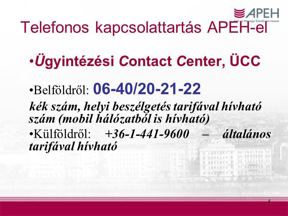 4 Telefonos kapcsolattartás APEH-el Ügyintézési Contact Center, ÜCC Belföldről: 06-40/20-21-22 kék szám, helyi beszélgetés tarifával hívható szám (mob