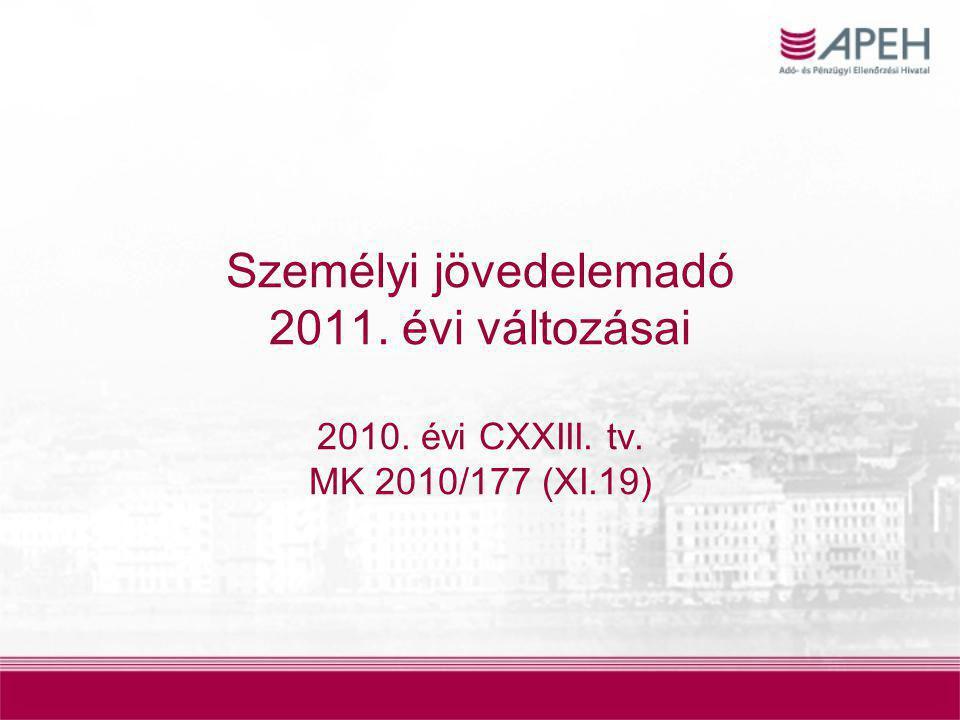 Személyi jövedelemadó 2011. évi változásai 2010. évi CXXIII. tv. MK 2010/177 (XI.19)