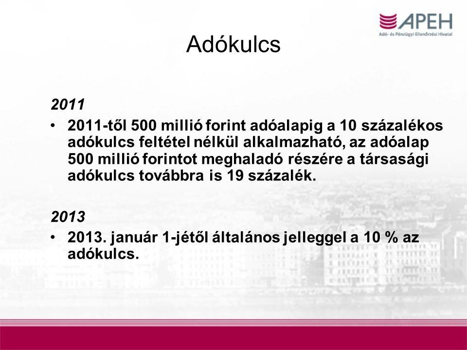 Adókulcs 2011 2011-től 500 millió forint adóalapig a 10 százalékos adókulcs feltétel nélkül alkalmazható, az adóalap 500 millió forintot meghaladó rés