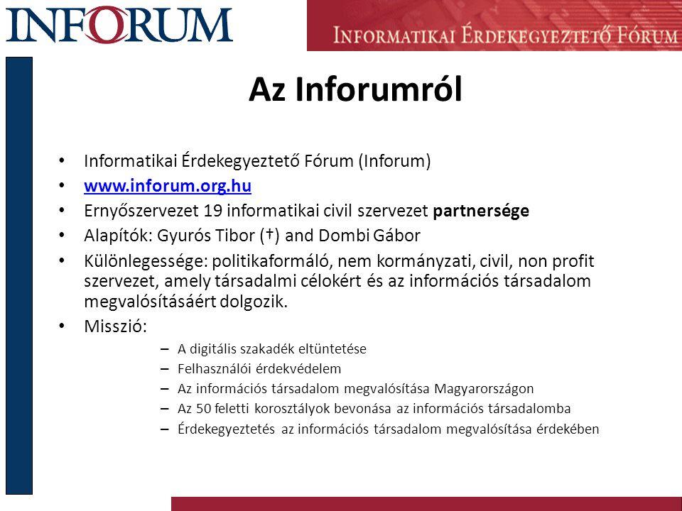 Az Inforumról Informatikai Érdekegyeztető Fórum (Inforum) www.inforum.org.hu Ernyőszervezet 19 informatikai civil szervezet partnersége Alapítók: Gyur