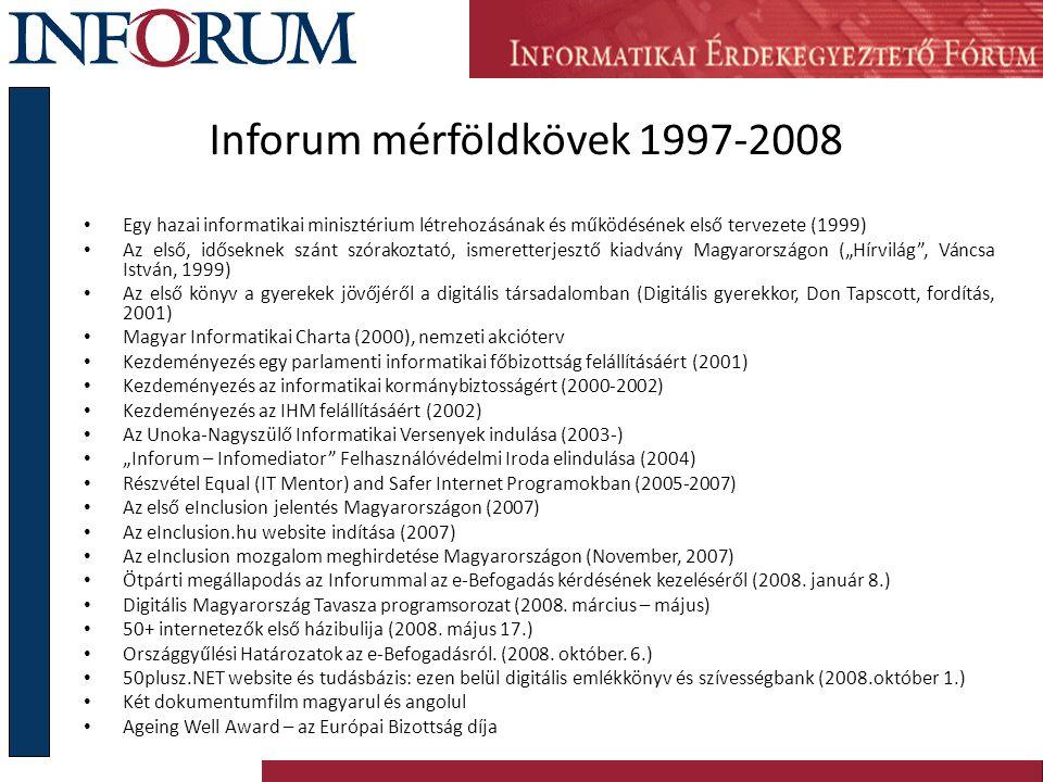 Inforum mérföldkövek 1997-2008 Egy hazai informatikai minisztérium létrehozásának és működésének első tervezete (1999) Az első, időseknek szánt szórak